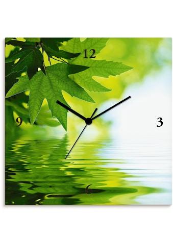 Artland Wanduhr »Grüne Blätter reflektieren im Wasser«, lautlos, ohne Tickgeräusche,... kaufen