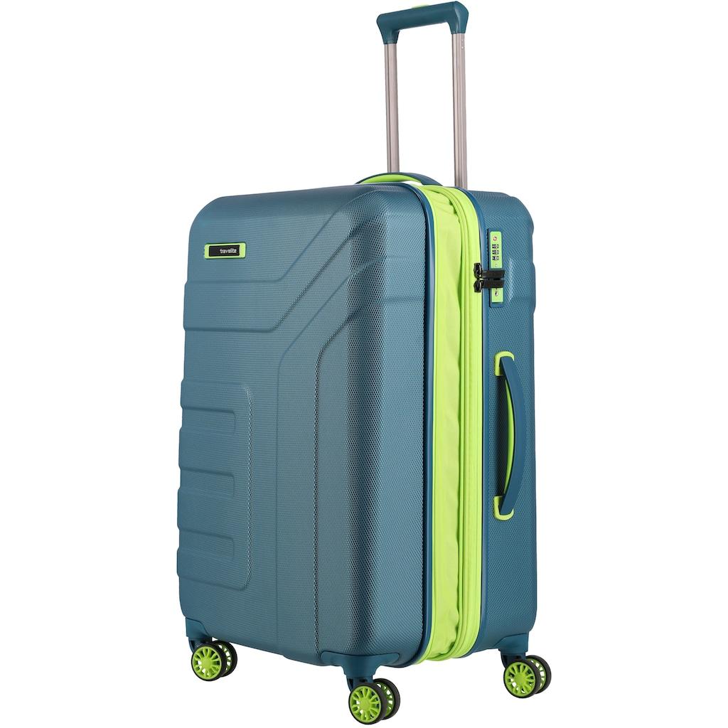 travelite Hartschalen-Trolley »Vector, 70 cm, Petrol/Limone«, 4 Rollen, Erweiterbar