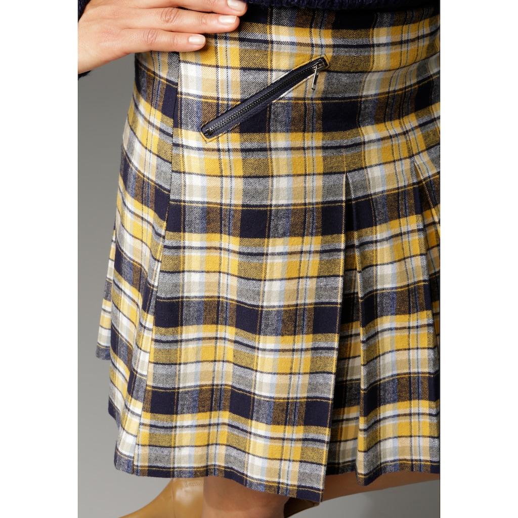 Aniston CASUAL Faltenrock, mit Zierreißverschluss im Vorderteil