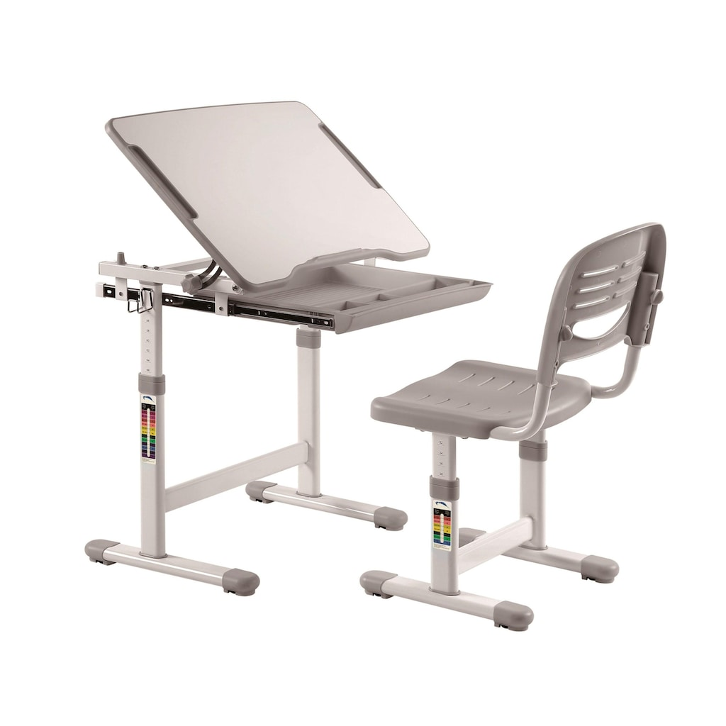 Vipack Kinderschreibtisch »Comfortline«, (Set, mit Stuhl), ergenomisch höhenverstellbar