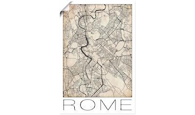 Artland Wandbild »Retro Karte Rom Italien Grunge«, Italien, (1 St.), in vielen Größen & Produktarten - Alubild / Outdoorbild für den Außenbereich, Leinwandbild, Poster, Wandaufkleber / Wandtattoo auch für Badezimmer geeignet kaufen