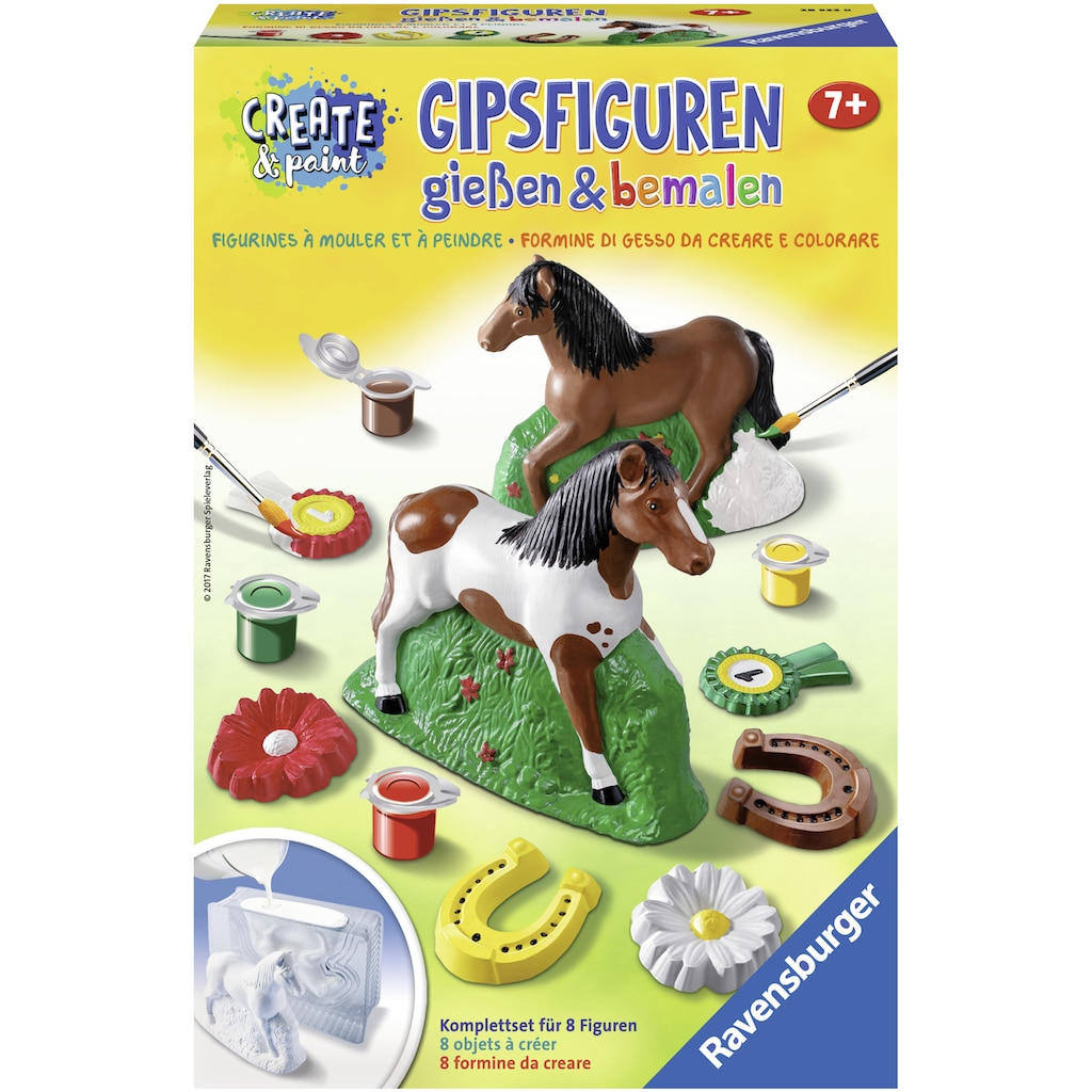 Ravensburger Kreativset »Create & Paint Pferd«, (Set), Gipsfiguren können gegossen und bemalt werden; Made in Europe; FSC® - schützt Wald - weltweit