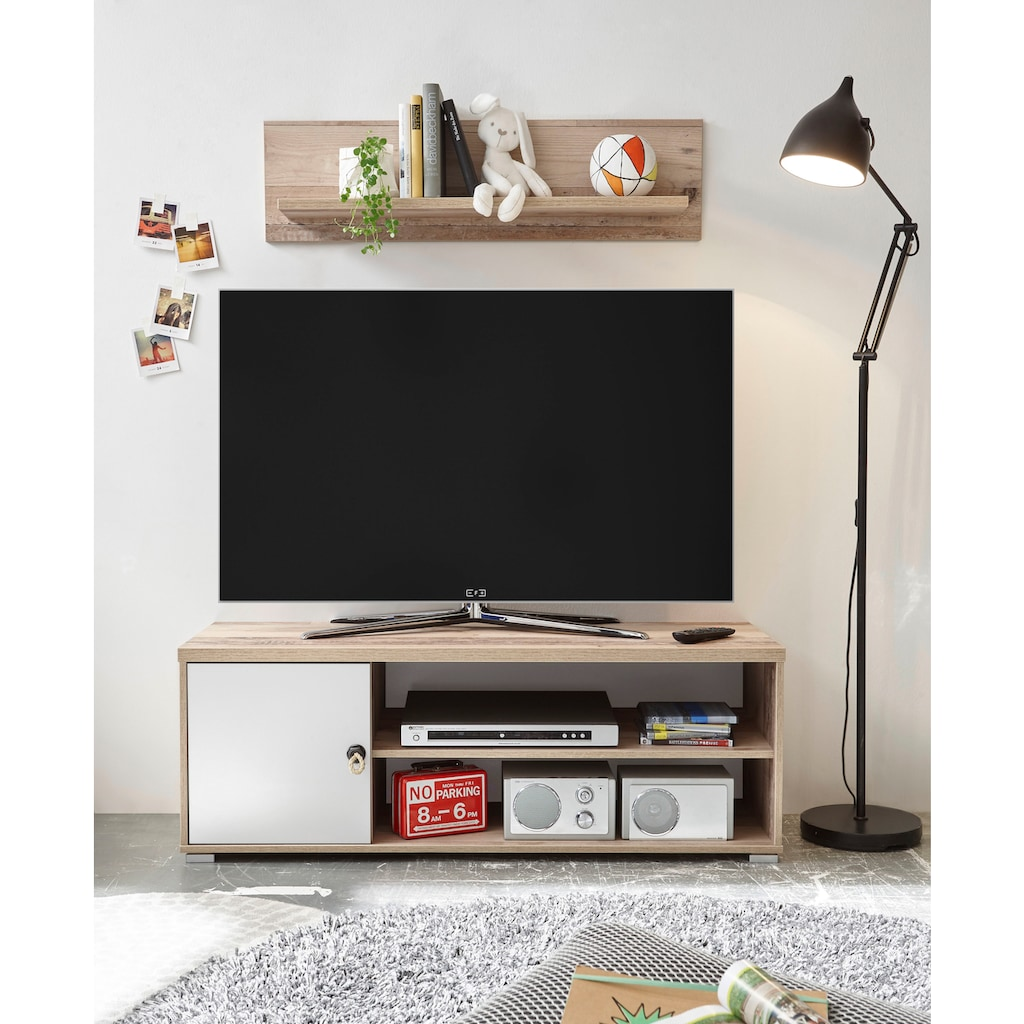 TV-Bank »Leni«, mit Seilgriff, im modernen Dekor Old Style hell