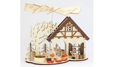 HGD Holz - Glas - Design Hauspyramide für drei Teelichte Rehe kaufen