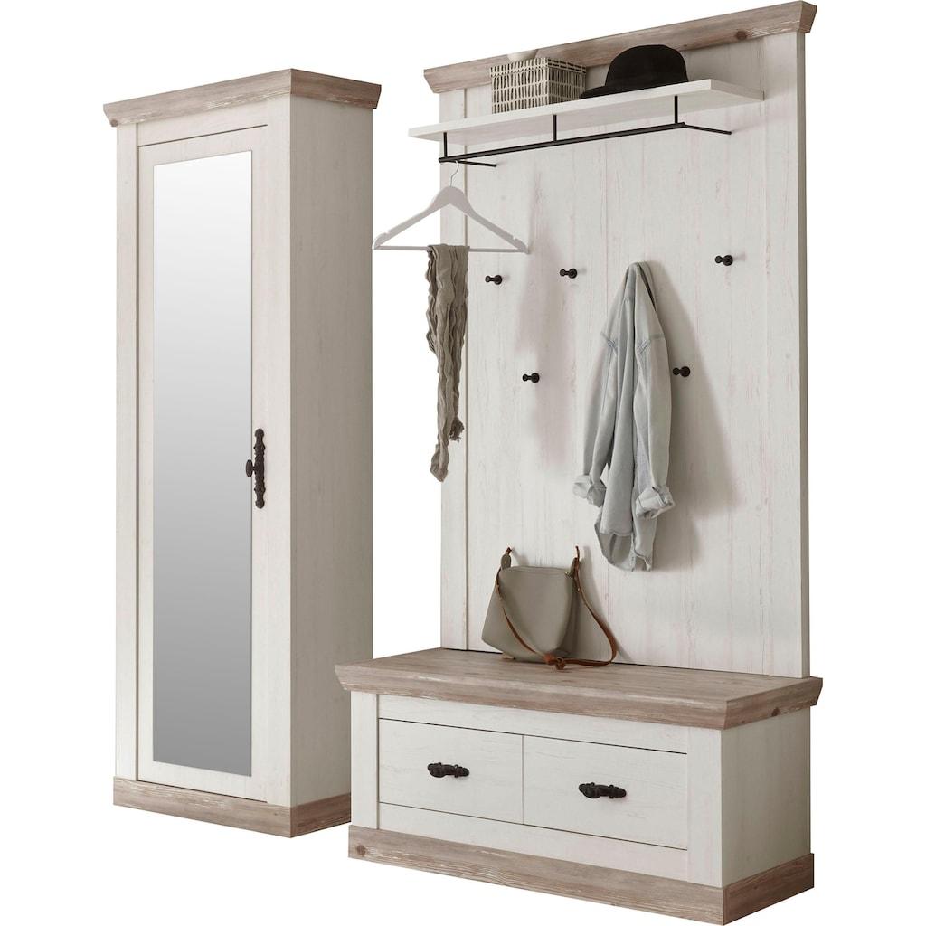 Home affaire Garderoben-Set »Florenz«, (3 St.), bestehend aus 1 Bank plus Sitzkissen, 1 Paneel und 1 Stauraumschrank mit Spiegel