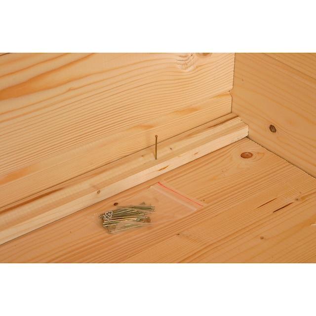 WOLFF FINNHAUS Set: Gartenhaus »Maria 44-A«, BxT: 352x352 cm, inkl. Fußboden, rote Schindeln, Dachhaube