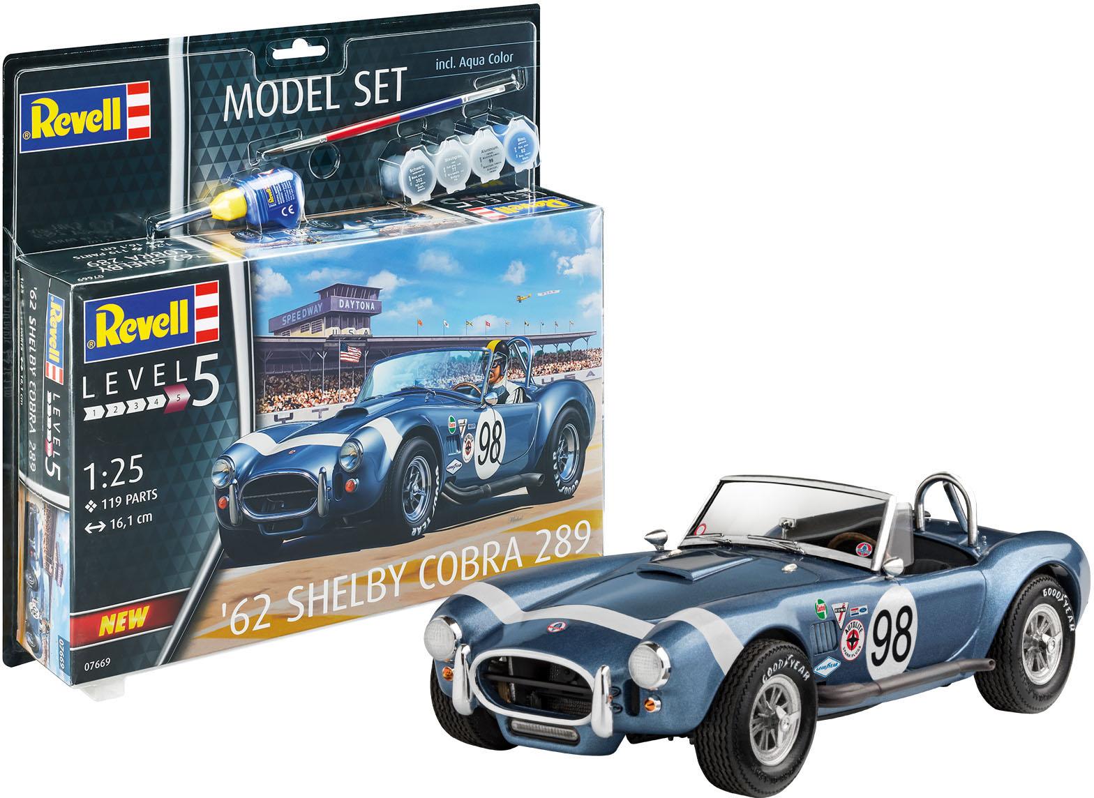 Revell Modellbausatz '62 Shelby Cobra 289, 1:25 blau Kinder Modellbausätze Bauen Konstruieren