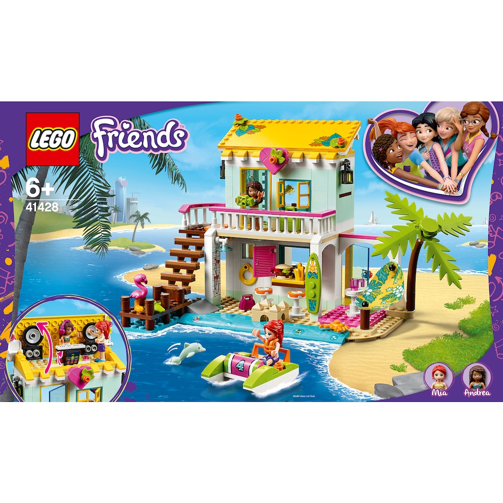 LEGO® Konstruktionsspielsteine »Strandhaus mit Tretboot (41428), LEGO® Friends«, (444 St.)