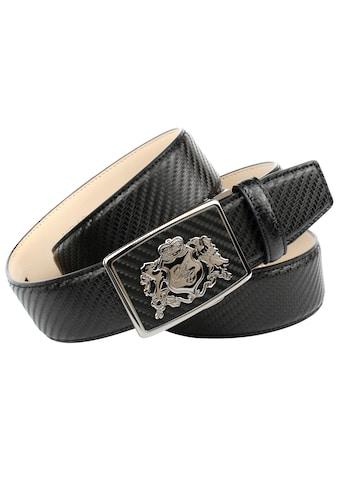 Anthoni Crown Ledergürtel, für Jeans mit Metalllogo kaufen