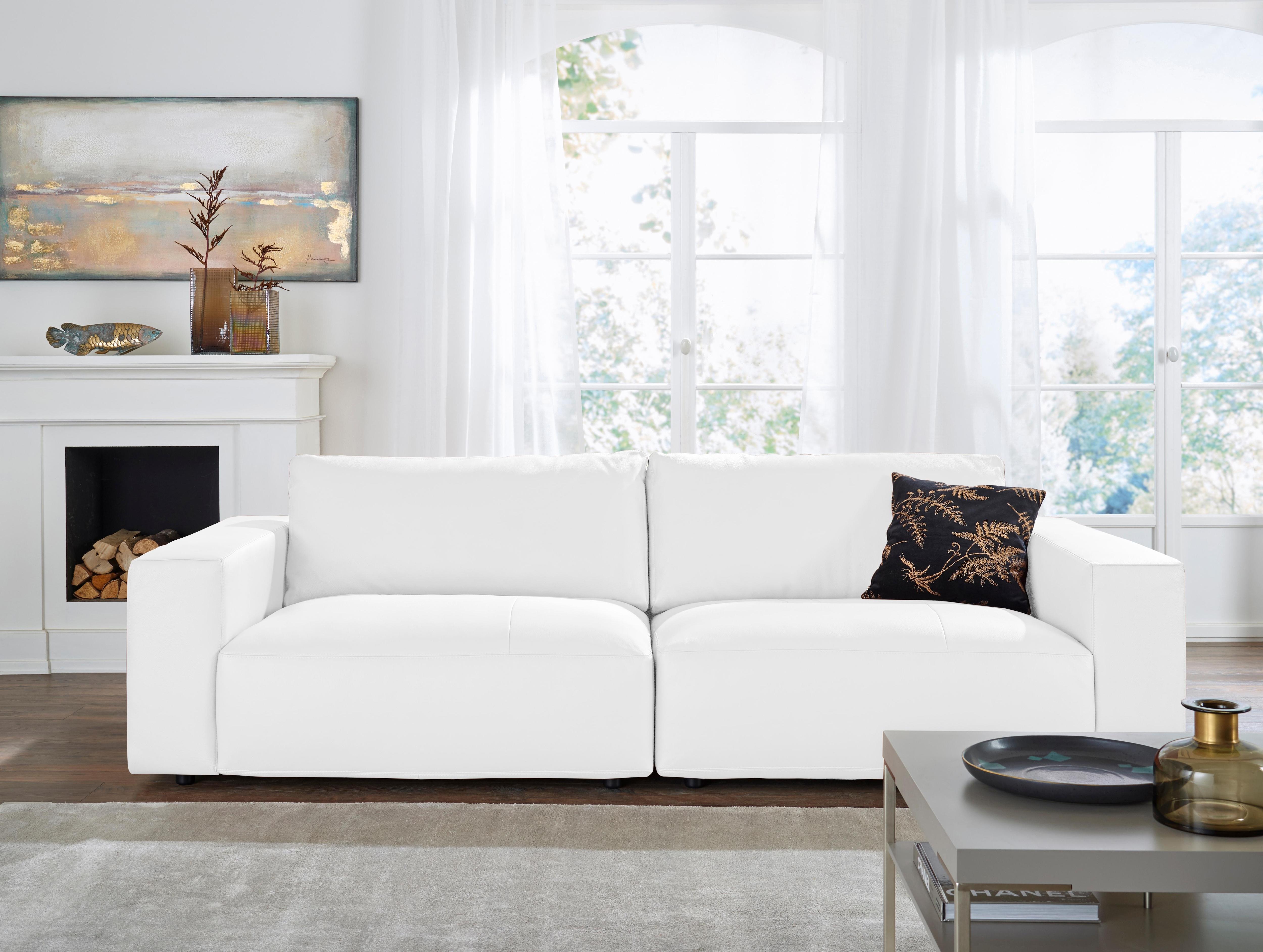 GALLERY M Big-Sofa 3-Sitzer »Lucia« in vielen Qualitäten und 4 unterschiedlichen Nähten | Wohnzimmer > Sofas & Couches > Bigsofas | Microfaser - Leder - Flachgewebe - Baumwolle | GALLERY M