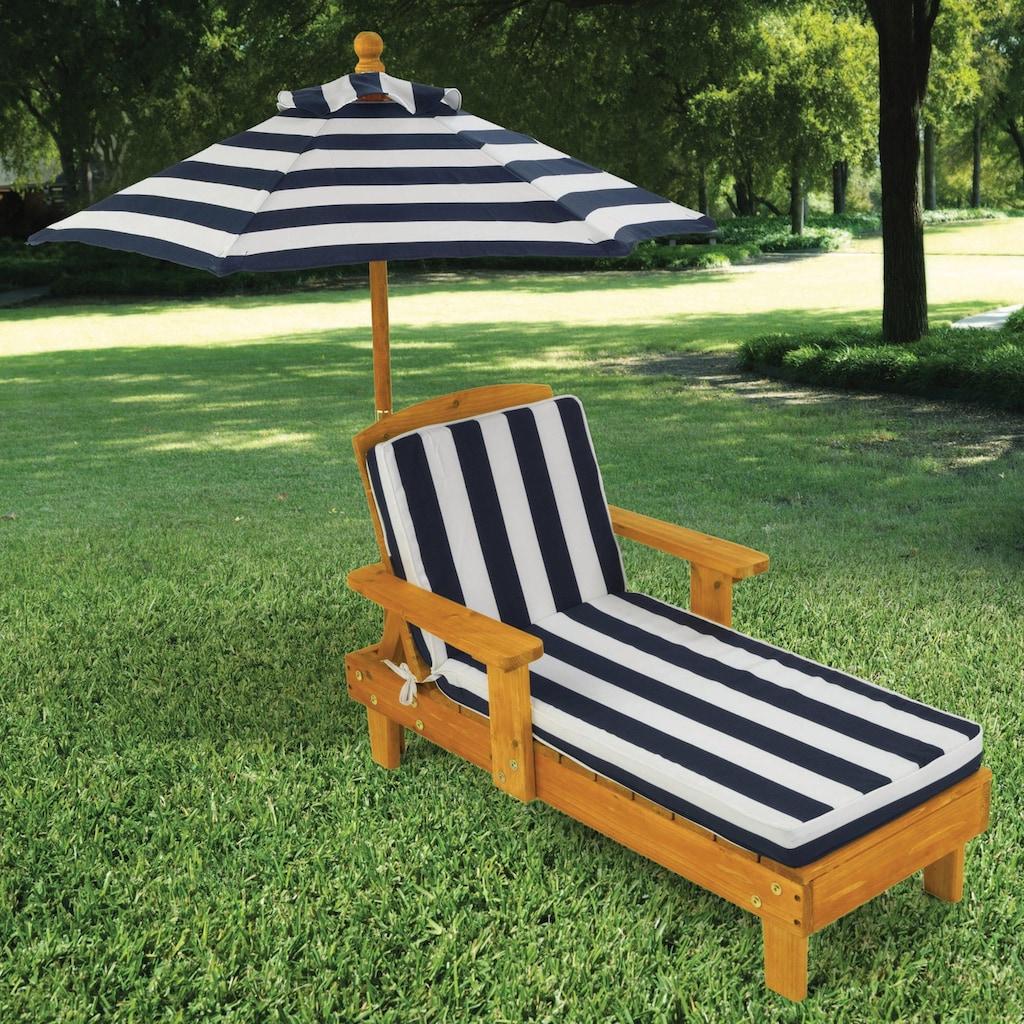 KidKraft® Kinderklappstuhl »Liegestuhl mit Sonnenschirm, weiß-blau«