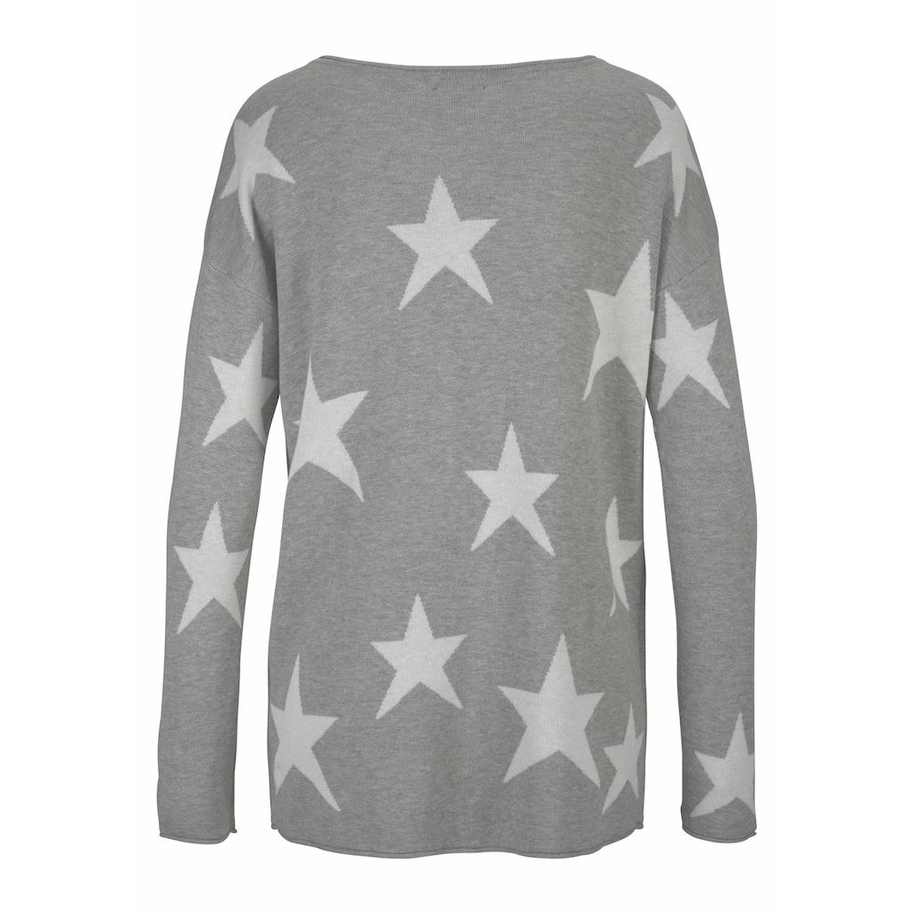 LASCANA Strandpullover, mit eingestrickten Sternen