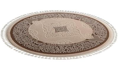 Orientteppich, »Delüks 6826«, Sanat, rund, Höhe 14 mm, maschinell gewebt kaufen