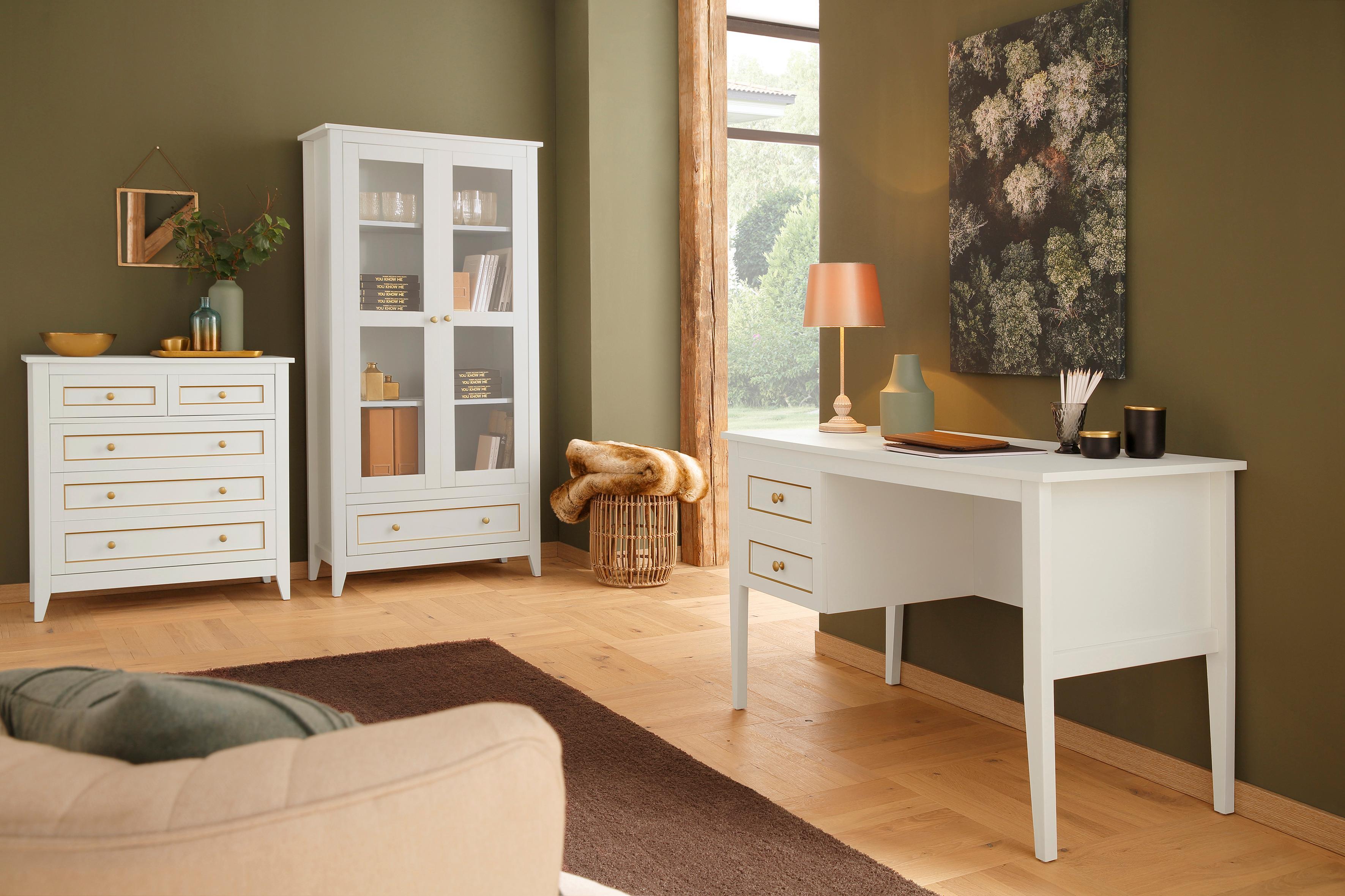 Home affaire Schreibtisch »Victoria«, 2 Schubladen mit goldener Umrandung und Messinggriffen, Breite 119 cm 119