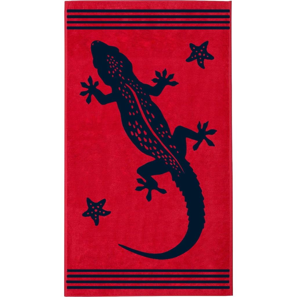 Delindo Lifestyle Strandtuch »Tropical Gecko«, (1 St.), mit jacquard-gewebtem Motiv