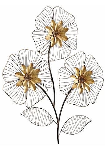 HOFMANN LIVING AND MORE Wanddekoobjekt »Wanddeko Blumenbouquet«, Wanddekoration, Motiv Blüten, aus Metall kaufen