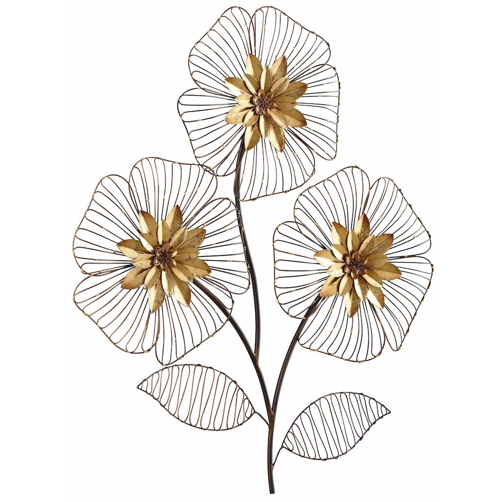 HOFMANN LIVING AND MORE Wanddekoobjekt »Wanddeko Blumenbouquet«, Wanddekoration, Motiv Blüten, aus Metall
