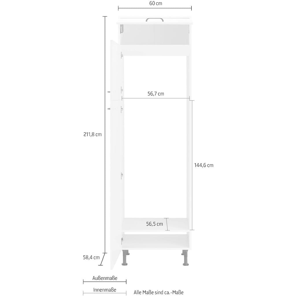 OPTIFIT Kühlumbauschrank »Elga«, für Kühl-/Gefrierkombination, mit Soft-Close-Funktion, höhenverstellbaren Füßen und Metallgriffen, Breite 60 cm