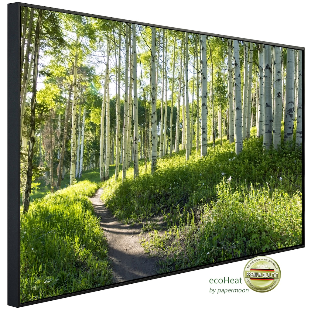 Papermoon Infrarotheizung »EcoHeat - Birkenwald«, Aluminium, 750 W, 60 x 120 cm, mit Rahmen