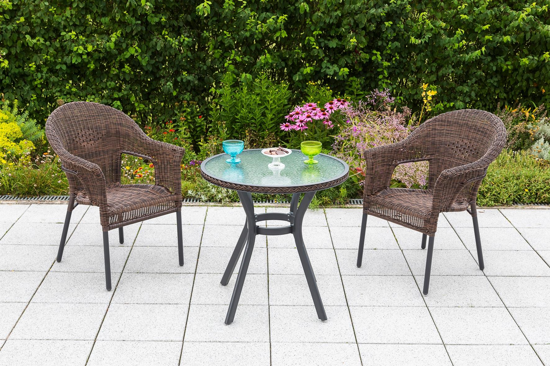 MERXX Gartenmöbelset Ravenna 3tlg 2 Sessel Tisch stapelbar Polyrattan