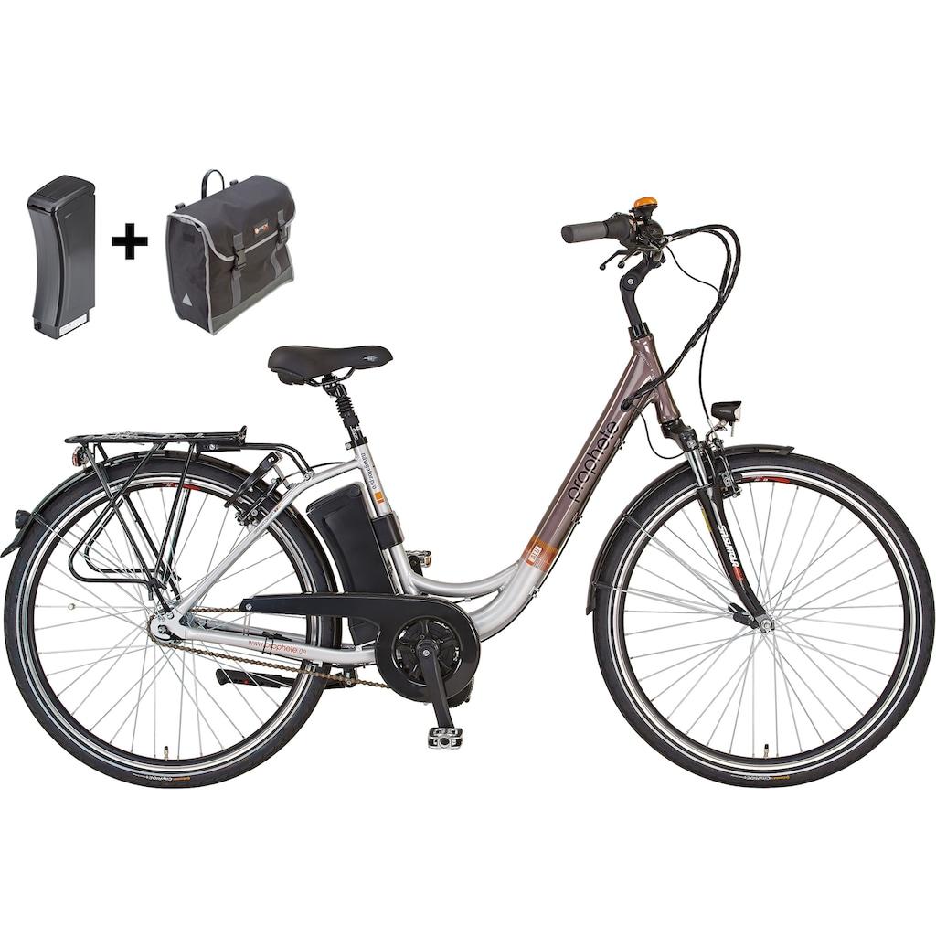 Prophete E-Bike »Navigator Pro«, 7 Gang, Shimano, Nexus, Mittelmotor 250 W, (Set, mit Ersatzakku-mit Seitentasche)