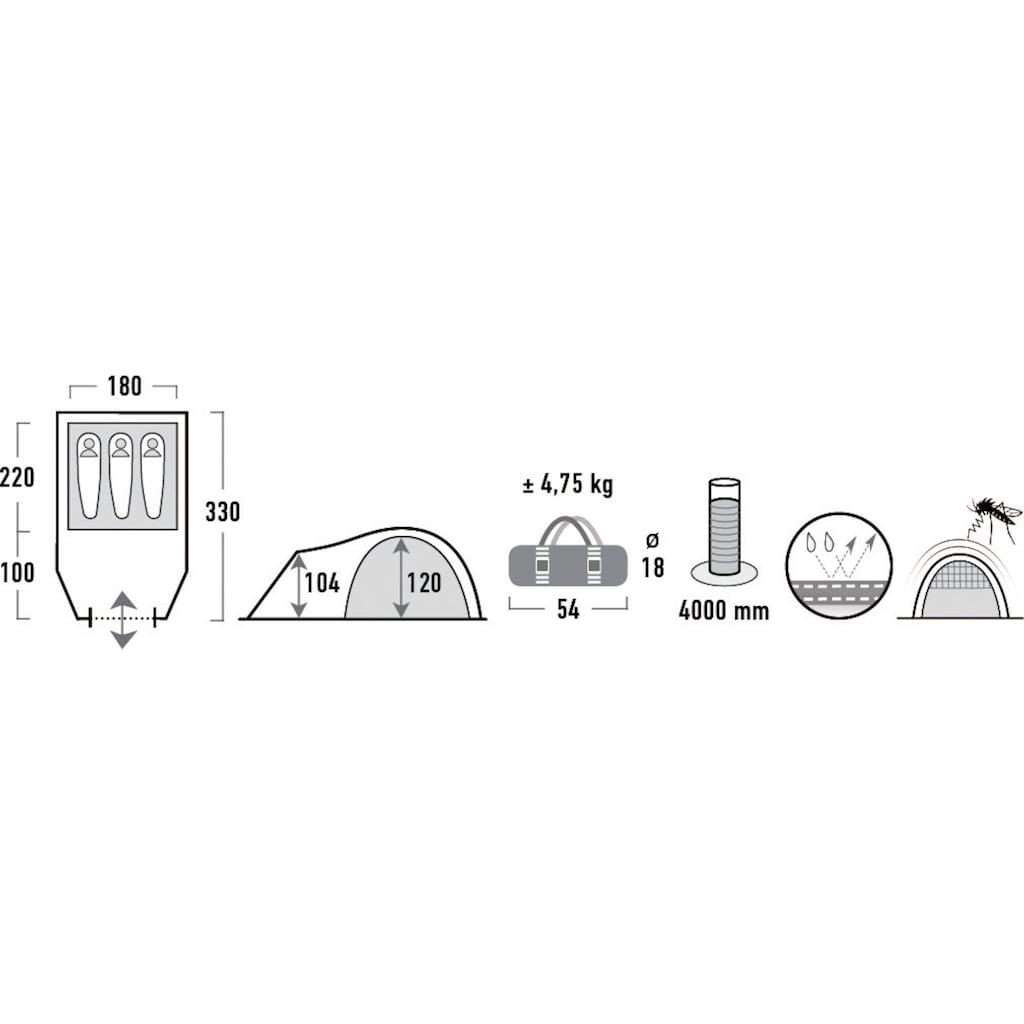 High Peak Kuppelzelt »Talos 3«, 3 Personen, (Set, mit Transporttasche)