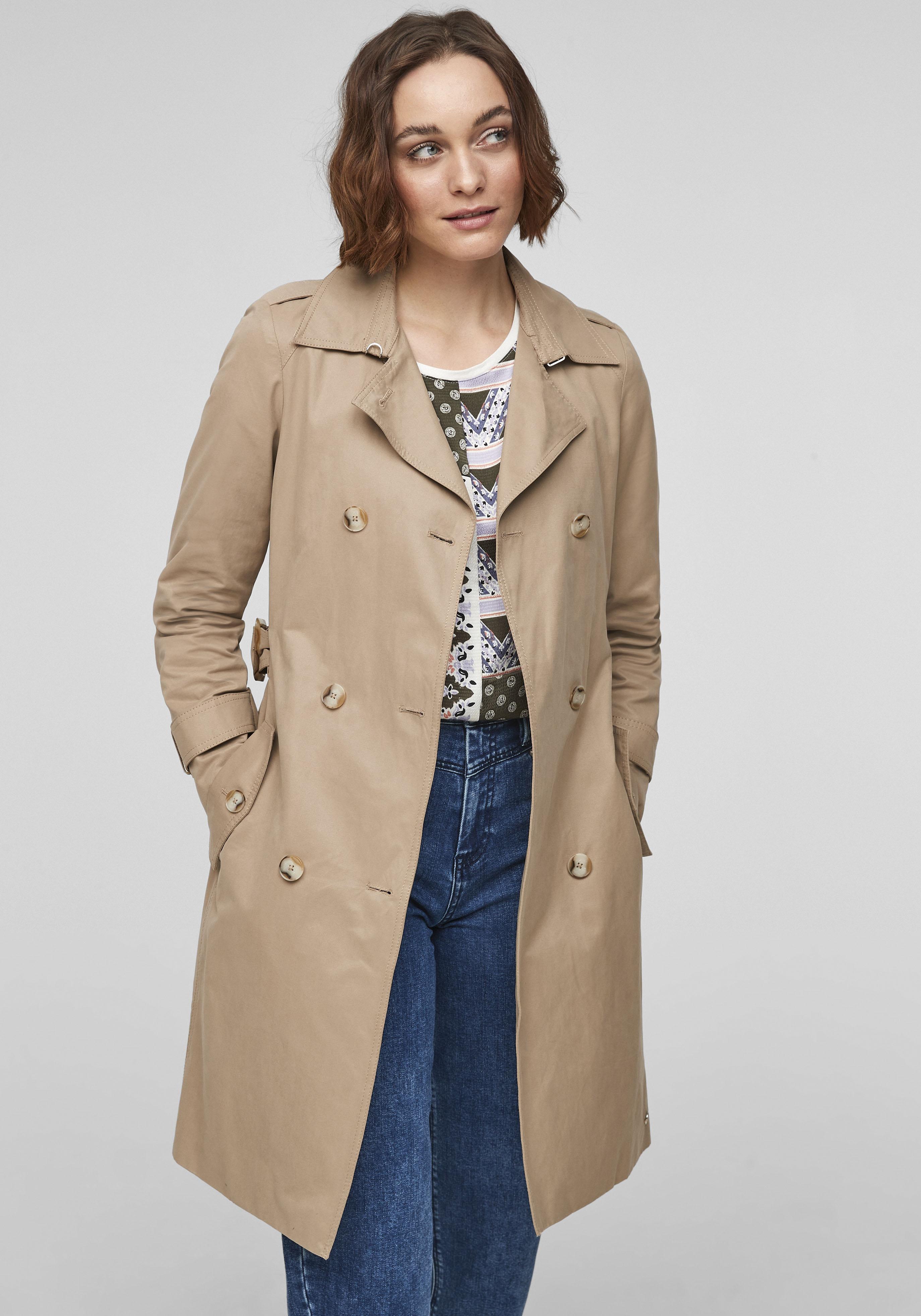 s.oliver -  Trenchcoat, mit kontrastierten Accessoires, Schulterklappen und Armriegel