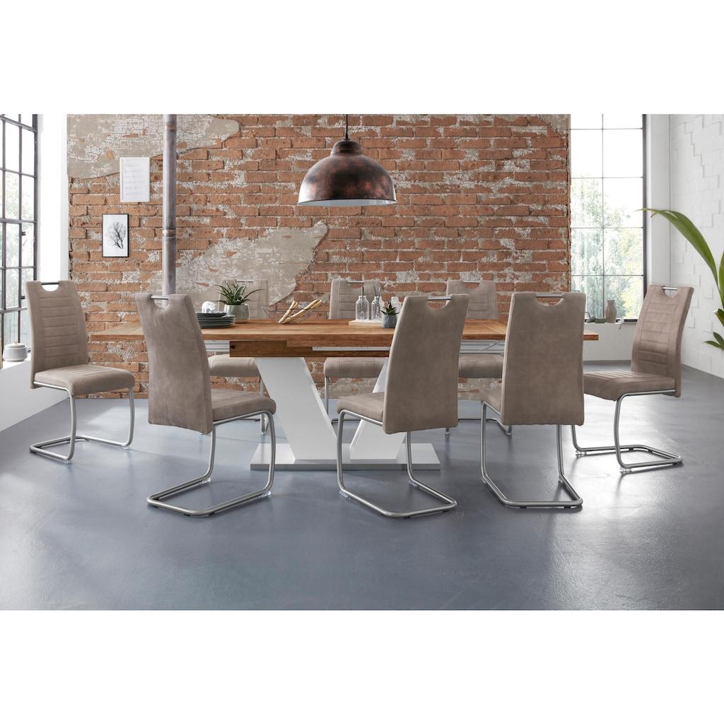 Esstisch »Komfort D«, mit V-Gestell in weiß und mit Auszugsfunktion, Breite 180-260 cm