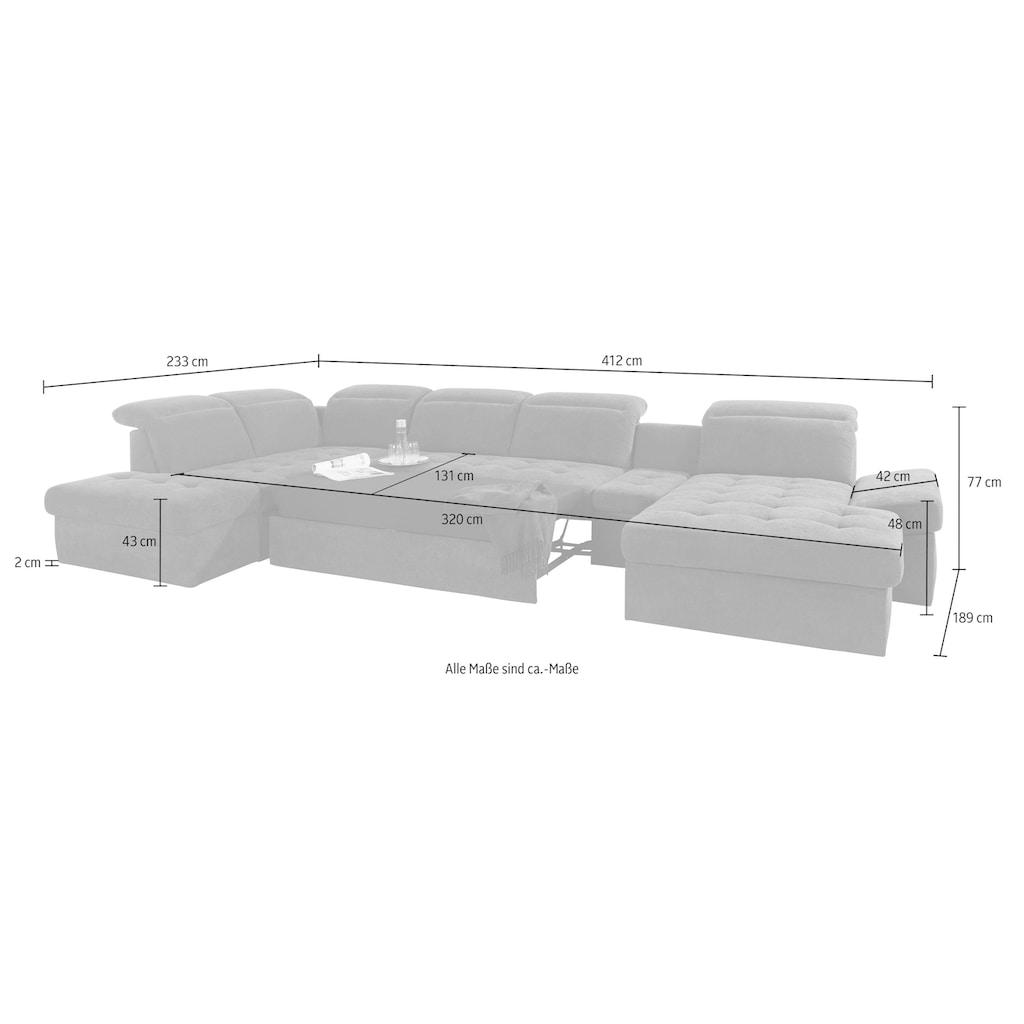 sit&more Wohnlandschaft »Stardust«, inklusive Kopfteilverstellung, Armlehnenfunktion und Tischelement, wahlweise mit Bettfunktion und Bettkasten, frei im Raum stellbar