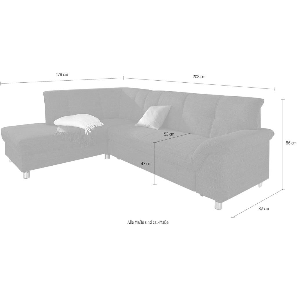 DOMO collection Ecksofa, wahlweise mit Bettfunktion (dann Breite: 250 cm)