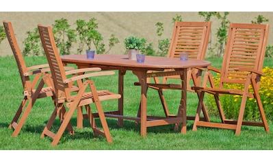 MERXX Gartenmöbelset »Cordoba«, 5 - tlg., 4 Sessel, Tisch 120/170x100x74 cm, Eukalyptus, braun kaufen