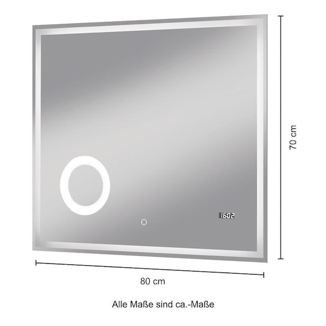 WELLTIME Badspiegel »Flex«, 80 x 70 cm, LED-Beleuchtung, Uhr, Vergrößerungsspiegel