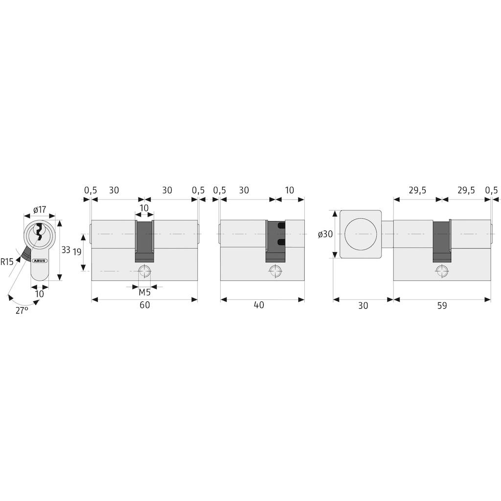 ABUS Profilzylinder »E20NP«, 3 Tür-Doppelzylinder mit 5 Profilschlüssel