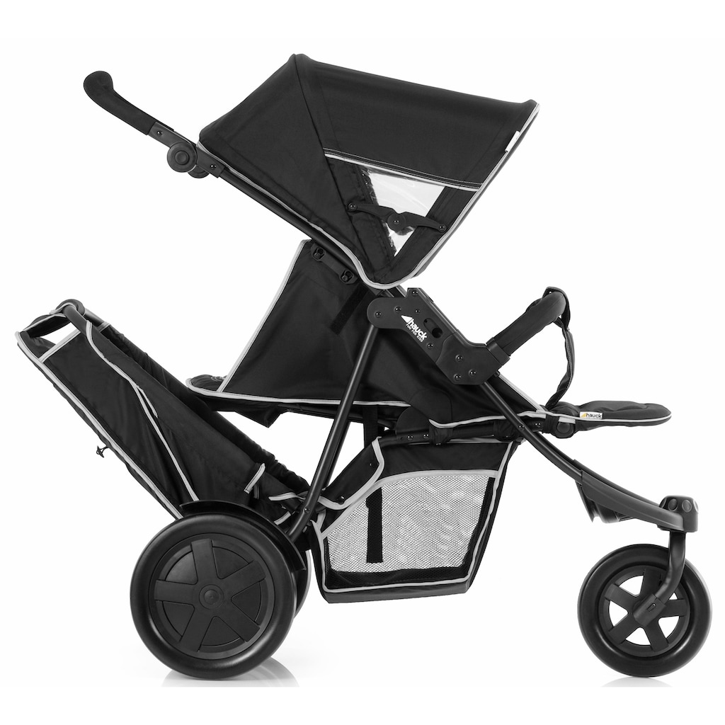 Hauck Geschwisterwagen »Freerider Black«, 15 kg, mit schwenk- und feststellbarem Vorderrad; Kinderwagen, Kinderwagen für Geschwister; Geschwisterkinderwagen