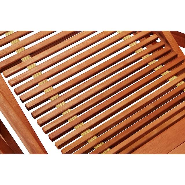 MERXX Gartenliege »Copa Cabana«, (2er Set), Eukalyptus, braun, inkl. Auflage