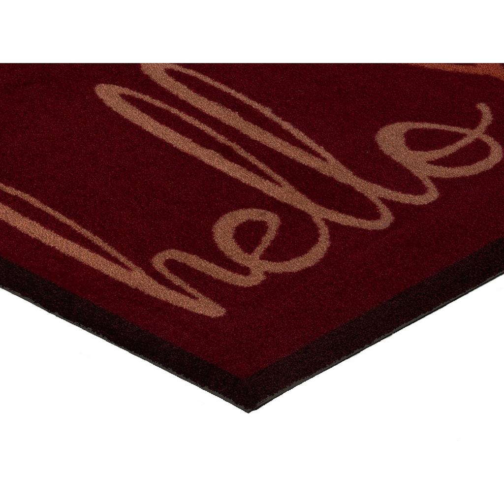 wash+dry by Kleen-Tex Fußmatte »Hello Heart«, rechteckig, 9 mm Höhe, Fussabstreifer, Fussabtreter, Schmutzfangläufer, Schmutzfangmatte, Schmutzfangteppich, Schmutzmatte, Türmatte, Türvorleger, mit Spruch, In- und Outdoor geeignet, waschbar