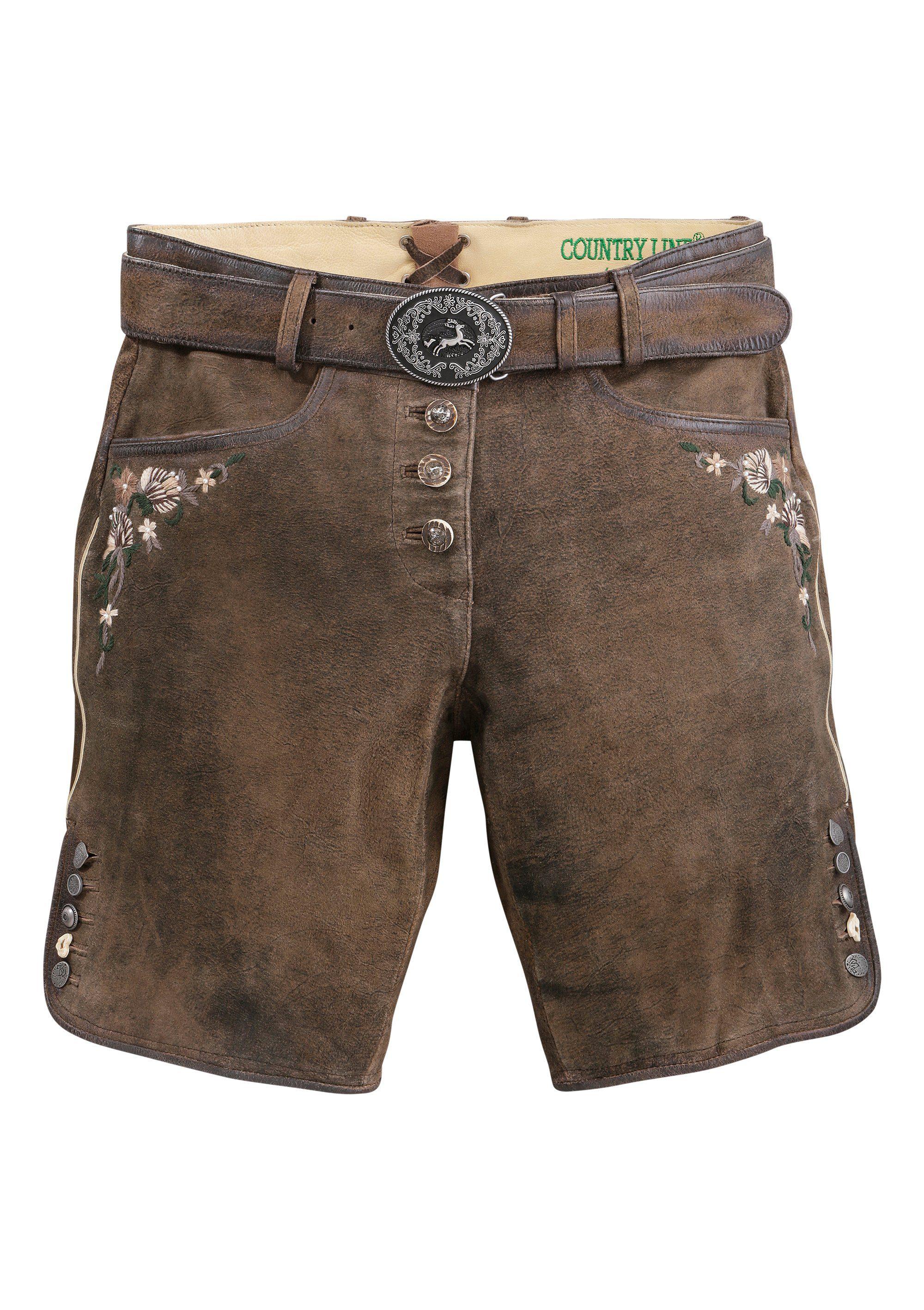 Country Line Trachtenlederhose kurz Damen mit Stickelementen | Bekleidung > Hosen > Lederhosen & Kunstlederhosen | Braun | Country Line