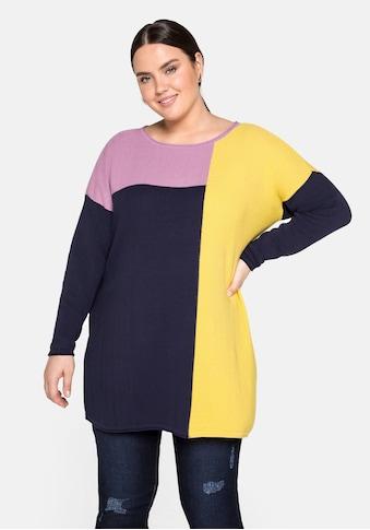 Sheego Rundhalspullover, im Colour-Blocking-Stil kaufen