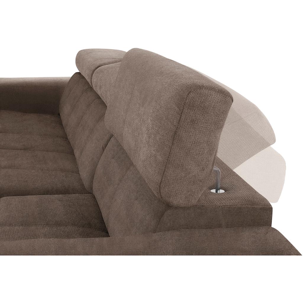 DOMO collection Ecksofa, inklusive Kopfteilverstellung, wahlweise mit Sitztiefenverstellung
