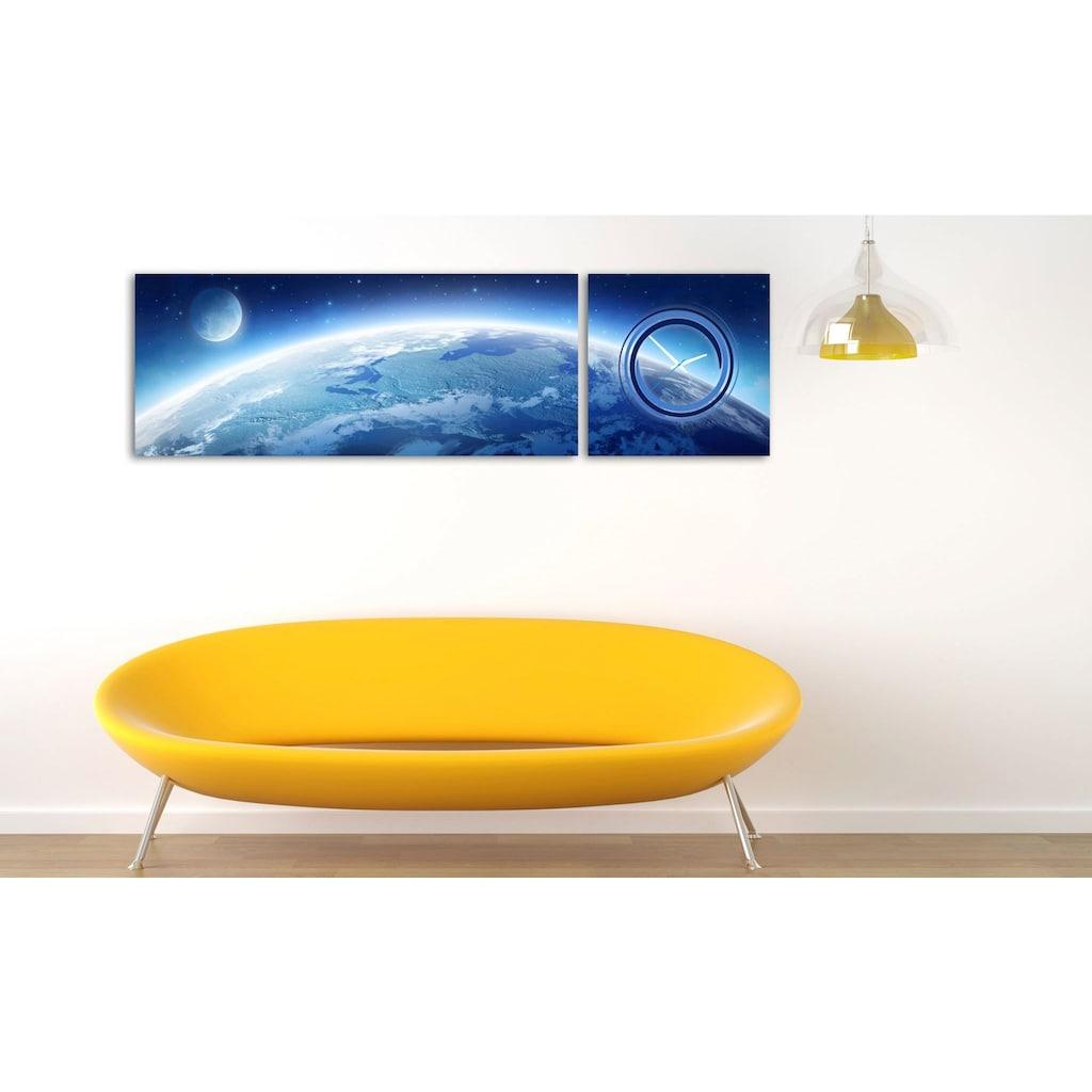 Conni Oberkircher´s Bild »Earth & Moon«, Weltraum, (Set), mit dekorativer Uhr