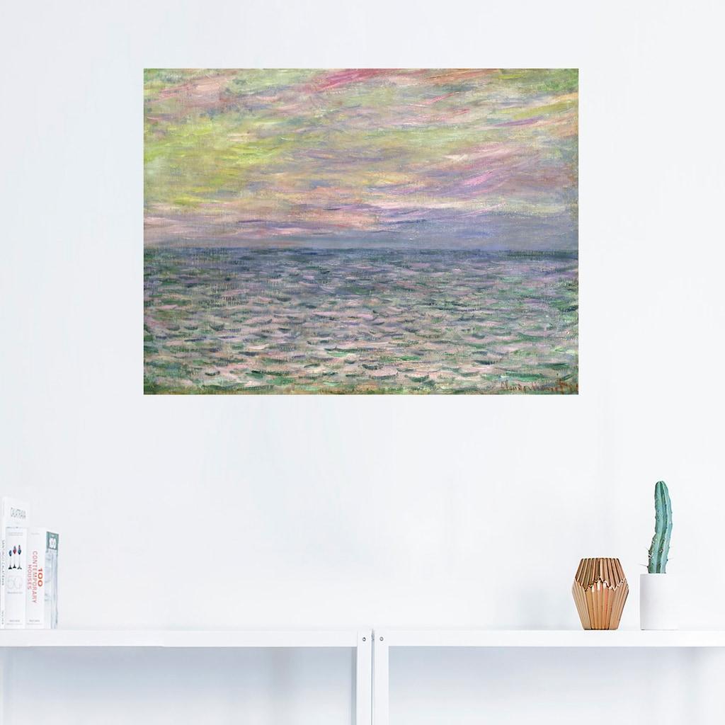 Artland Wandbild »Sonnenuntergang über dem Meer Pourville«, Sonnenaufgang & -untergang, (1 St.), in vielen Größen & Produktarten -Leinwandbild, Poster, Wandaufkleber / Wandtattoo auch für Badezimmer geeignet