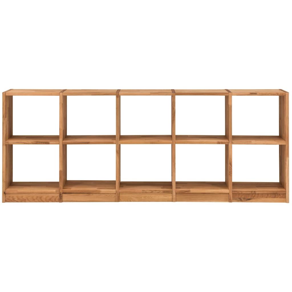 Premium collection by Home affaire Regalelement »Ecko«, aus schönem massivem Wildeichenholz, Breite 225 cm, mit 10 Fächern