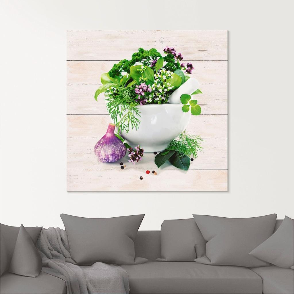 Artland Glasbild »Heilkräuter auf weißem Hintergrund Küche«, Arrangements, (1 St.)
