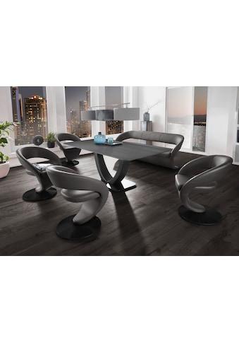 K+W Komfort & Wohnen Essgruppe »Wave«, (Set), Design-Solobank mit 4 Design-Drehstühlen und Tisch in 180x90cm, Tischplatte Wildeiche treibholzfarbig, Füße Bank / Stühle Metall schwarz Struktur kaufen
