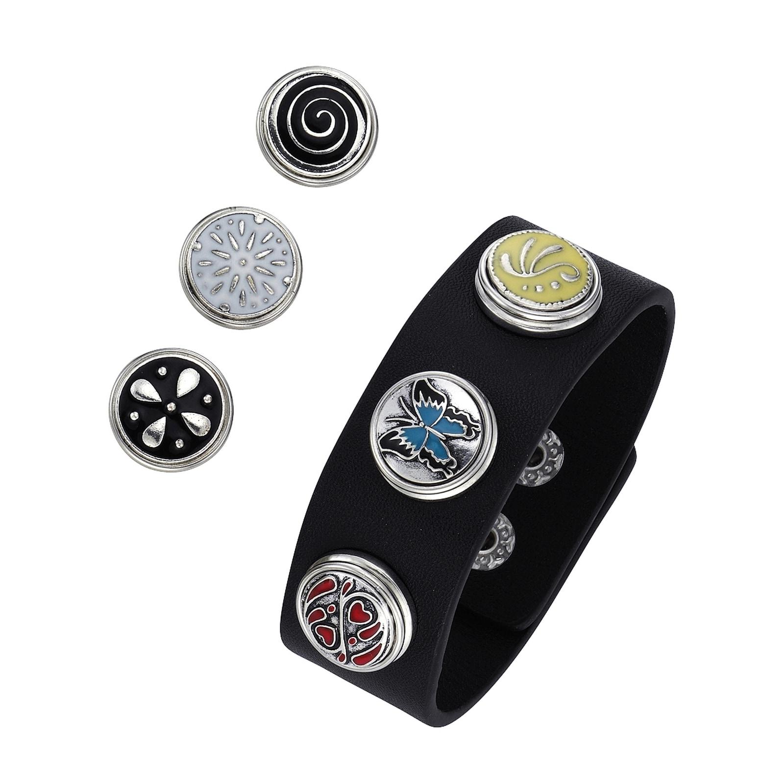 Jacques Charrel Armband Kunstlederarmband mit Druckknöpfen, Metall bunt Damen Armbänder Schmuck