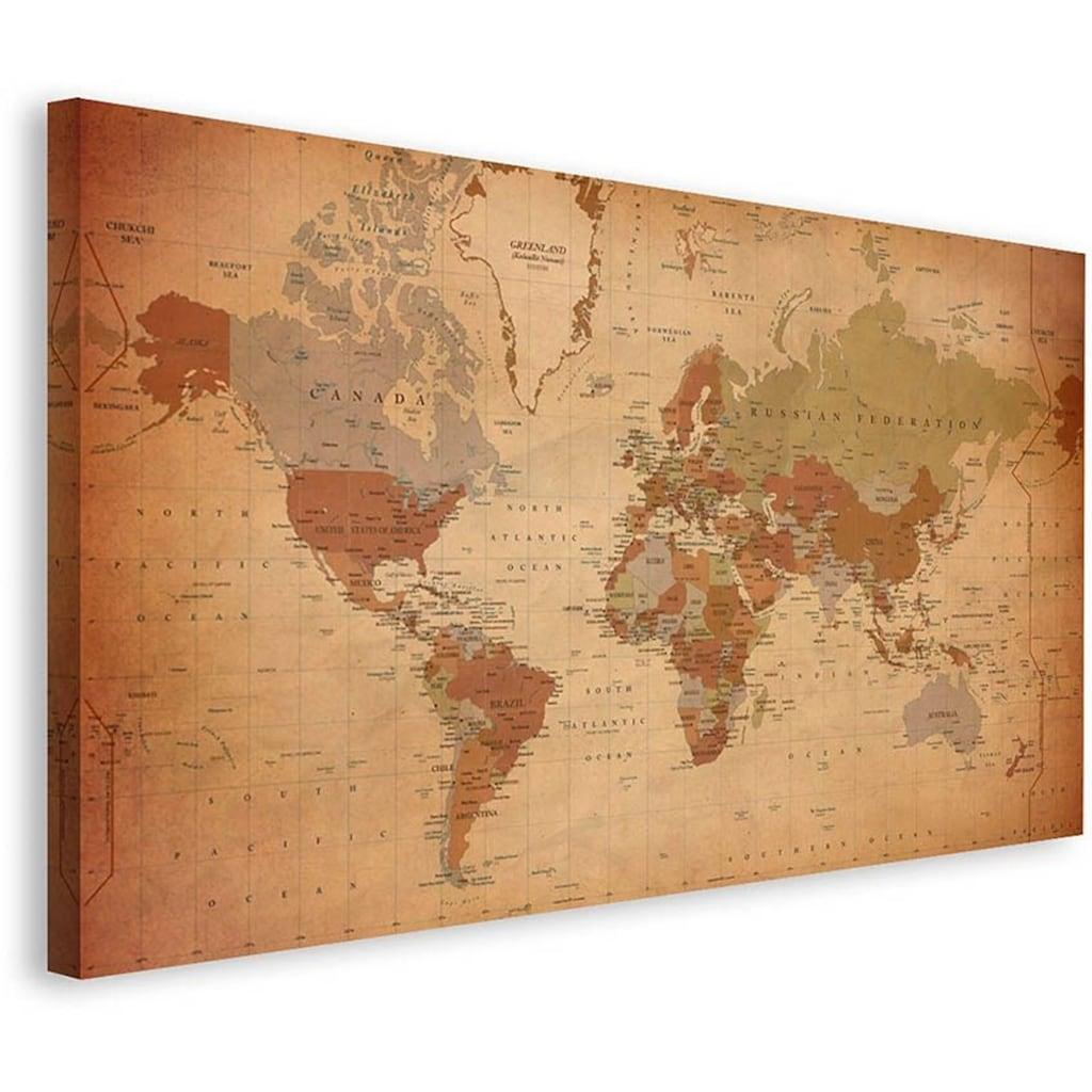 Home affaire Leinwandbild »Weltkarte Antik - Englisch«, 135/78 cm