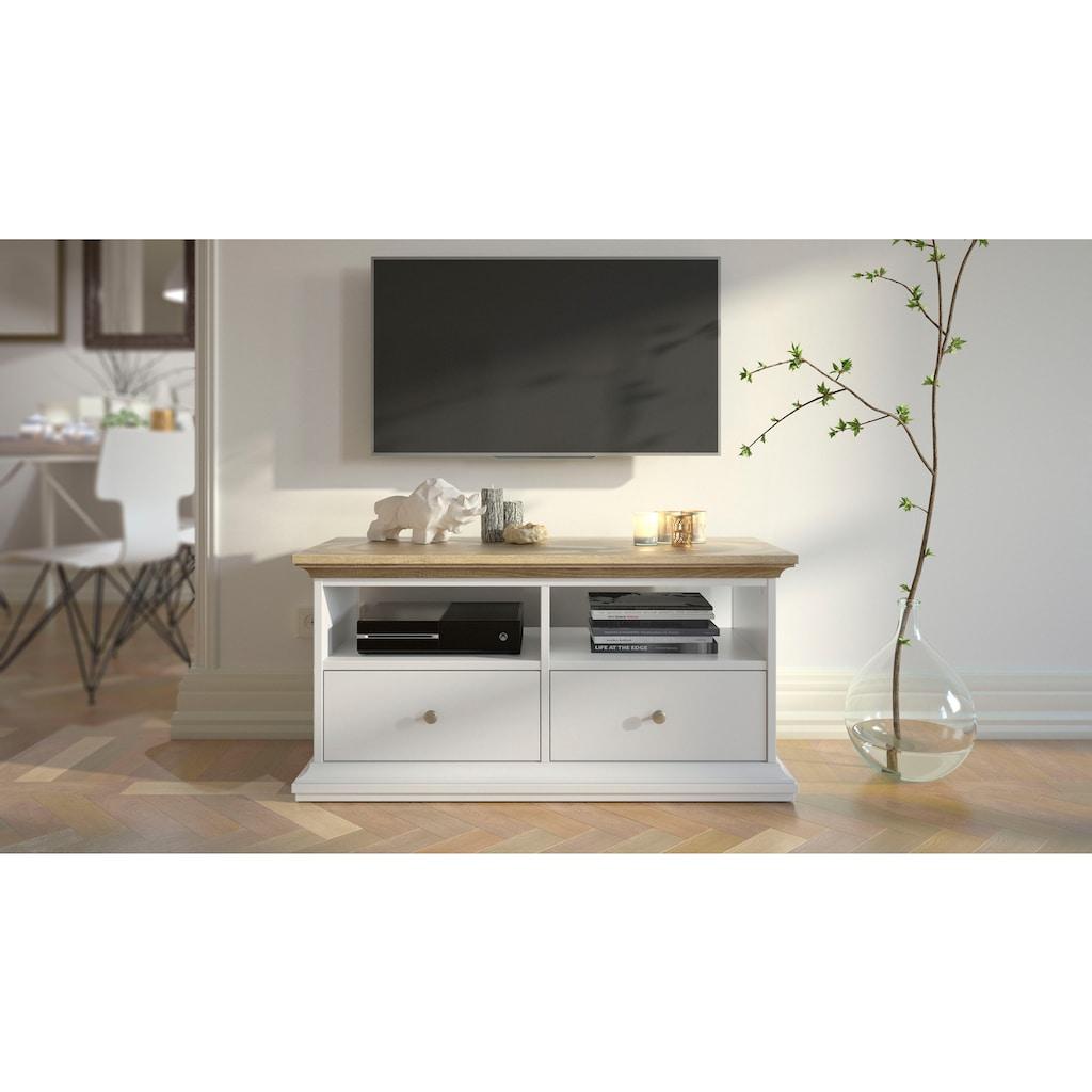 Home affaire TV-Board »Paris«, erstrahlt in einer schönen Holzoptik, mit einer Kranzprofil Leiste oben und unten, Deckplatte in eiche Struktur