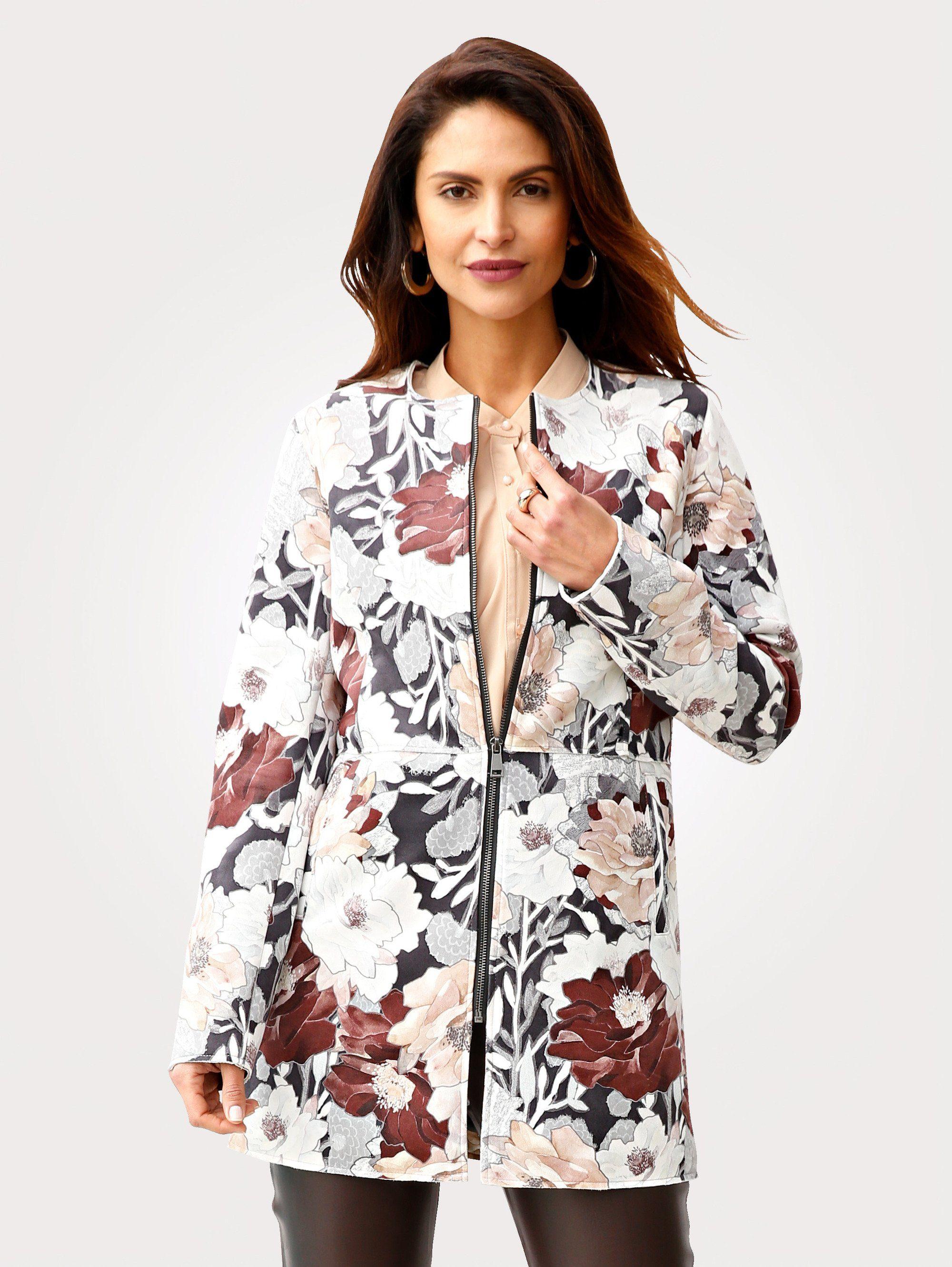 Mona Longblazer mit attraktivem Blütenmotiv   Bekleidung > Blazer > Longblazer   Grau   Mona