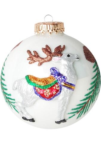 Krebs Glas Lauscha Weihnachtsbaumkugel »CBK80246«, (1 St.), mit 3-D Dekor, Rentier und... kaufen