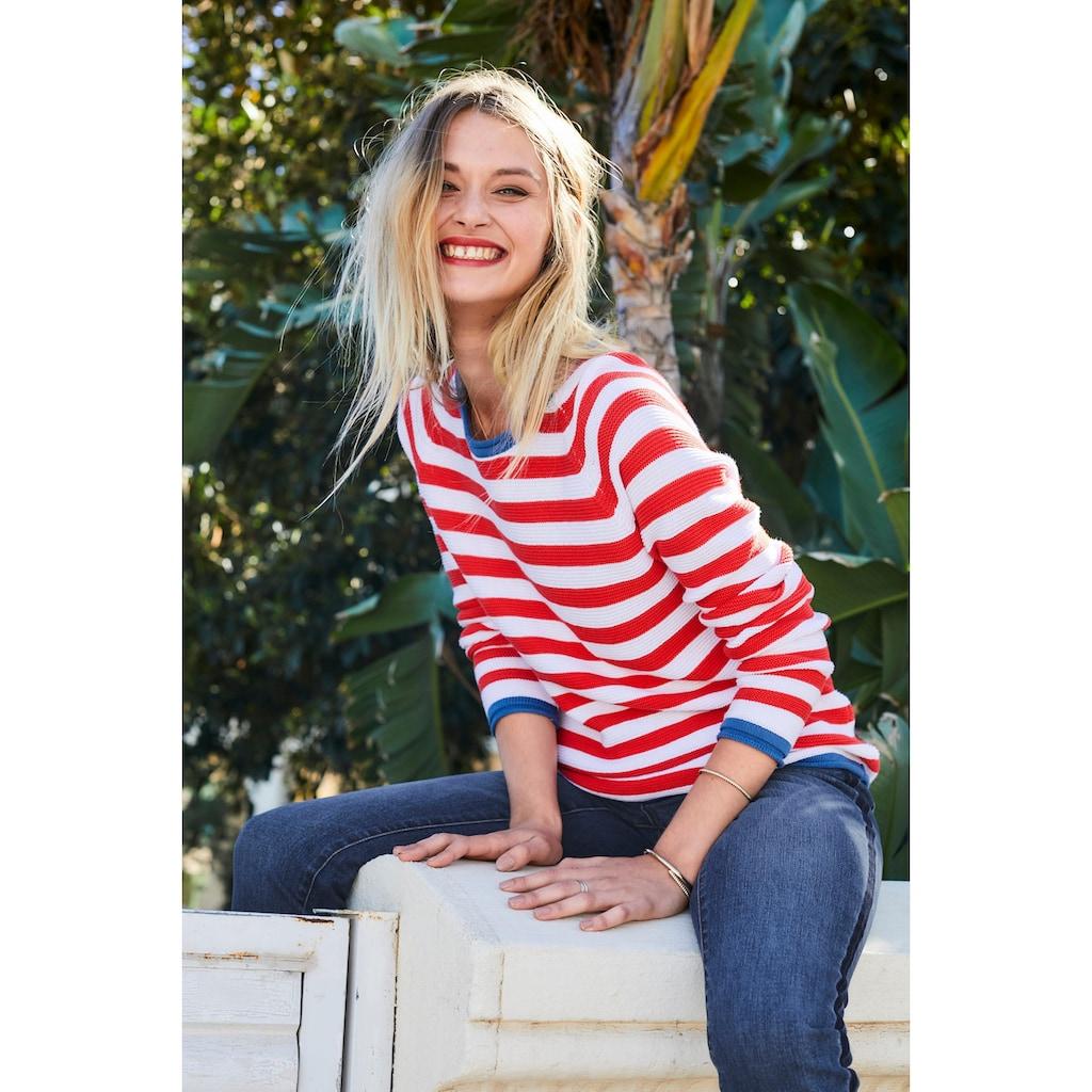 Aniston CASUAL Rundhalspullover, im Streifendessin